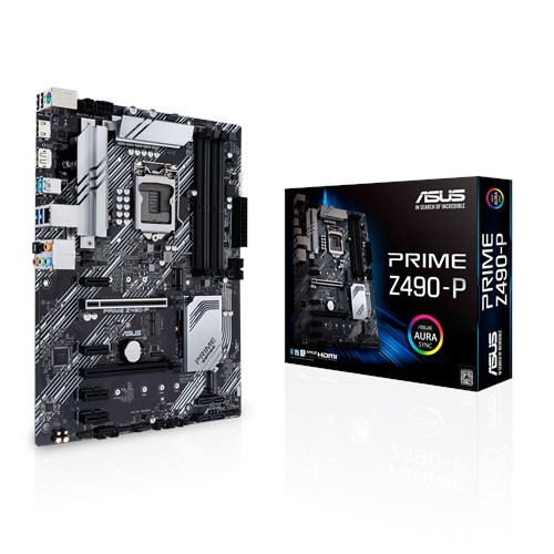 ASUS Prime Z490-P Intel® Z490 LGA 1200, dual M.2, 11 DrMOS power stages, DDR4 4600, 1 Gb Ethernet, HDMI, DisplayPort, USB 3.2 Gen 2 USB Type-A®, Thunderbolt™ 3 support, Aura Sync, RGB ATX motherboard