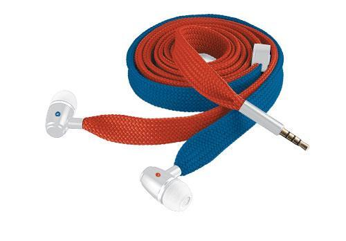 Trust Lace Red & Blue Shoelace style In-Ear headset for tablet and smartphone with inline microphone