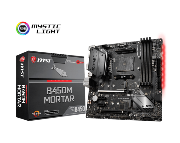 MSI B450M MORTAR, AM4, 4x DDR4 up to 3466(OC) MHz, Audio Boost, EZ Debug LED