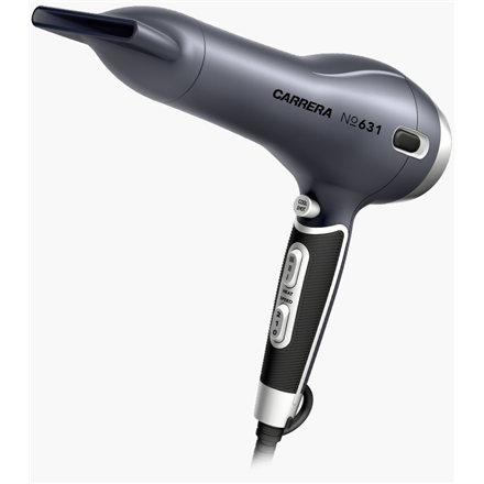 Carrera 631 Hair Dryer Warranty 36 month(s), Ionic function, Motor type AC, 2400 W, Silver/Black