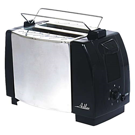 Adler AD 35 Black/Silver, Metal, 750  W, Number of slots 2, Number of power levels 1, Bun warmer included