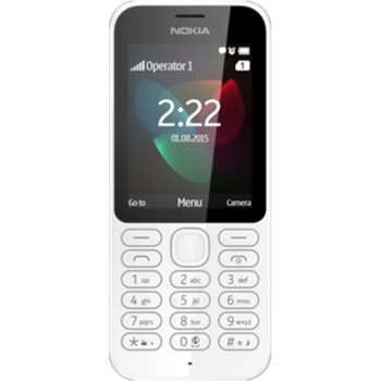 "Nokia 222 White, 2.4 "", TFT, 320 x 240 pixels, 16 MB, microSD, Dual SIM, Mini-SIM, Bluetooth, 3.0, USB version 2.0, Built-in camera, Main camera resolution (numeric) 2 MP, 1100 mAh, 79 g, 50 mm, 116 mm, 12.9 mm, Warranty 24 month(s)"