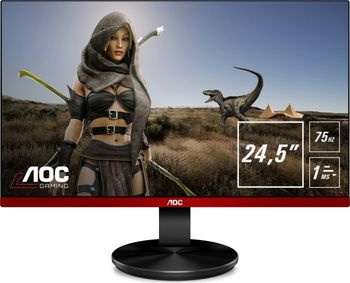 AOC G2590VXQ GAMING LED monitorius su garsiakalbiais ir AMD FreeSync technologija | 24.5 colių | FULL HD (1920x1080@75Hz) | Kontrastas: 20 000 000:1 | Reakcijos laikas: 1ms | Peržiūros kampas: 170°/160° | Jungtys: D-Sub, HDMI, DisplayPort | Tilt, Pivot, Swivel, VESA, Flicker Free