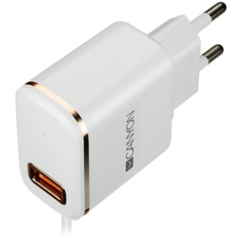 CANYON Universal 1xUSB AC charger (in wall) with over-voltage protection, plus lightning USB connector, Input 100V-240V, Output 5V-2.1A, with Smart IC, white(rose-gold electroplated stripe), cable length 1m, 81*47.2*27mm, 0.059kg