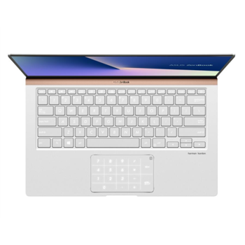 "Asus ZenBook UX433FA-A5126T Icicle Silver, 14 "", FHD, 1920 x 1080 pixels, Matt, Intel Core i7, i7-8565U, 8 GB, LPDDR3 on board, SSD 512 GB, Intel HD, Without ODD, Windows 10 Home, 802.11 ac, Bluetooth version 5.0, Keyboard language English, Keyboard backlit, Battery warranty 12 month(s)"