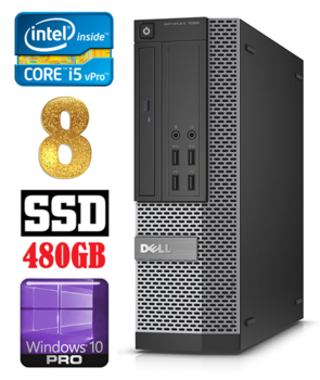 DELL 7020 SFF Intel Core i5-4570 (3.2-3.6GHz) | DDR3  8GB | SSD 480GB | DVD | Intel® HD Graphics 4600 | Windows 10 Pro RENEW