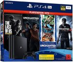 Sony PlayStation 4 Pro 1TB juoda žaidimų konsolė su The Last of Us Remastered, Uncharted: The Lost Legacy, Uncharted Collection 1-3 ir Uncharted 4 žaidimais