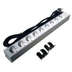 "OEM 19"" outlet strips, 8 way  Grey, 48.3 cm, 9 sockets 250V 16A max. 3680WUsable height 1U2 metal handles designed for rail mounting in 19 ""cabinetsaluminum caseCan be mounted at different anglesCable length 1.8 m"