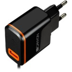 CANYON Universal 1xUSB AC charger (in wall) with over-voltage protection, plus Type C USB connector, Input 100V-240V, Output 5V-2.1A, with Smart IC, black (orange stripe)​, cable length 1m, 81*47.2*27mm, 0.059kg