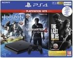 Sony PlayStation 4 500GB juoda žaidimų konsolė su Horizon Zero Dawn, Uncharted 4 ir The Last of us žaidimais