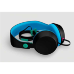 COLOUD BOOM Black/Cyan Headphones with Mic & Remote/ Flat cable, Tangle-free System