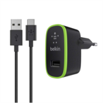 Belkin USB-C / USB-A cable with universal home charger  F7U001vf06-BLK Black
