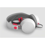 COLOUD BOOM Grey/Red Headphones with Mic & Remote/ Flat cable, Tangle-free System