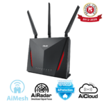 ASUS RT-AC86U Wi-Fi AC2900 Gaming Router with AiProtection Powered by Trend Micro, ASUS AiMesh Wi-Fi System (Mesh), WTFast game accelerator inside for free, Link aggregation, adaptive QoS, ASUS router app support, USB 3.0, Dual-WAN 3G/4G support, AiCloud 2.0, AiDisk, AiRadar