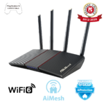 Asus RT-AX55 AX1800 Dual Band WiFi 6 (802.11ax) Router supporting MU-MIMO and OFDMA technology, with AiProtection Classic network security powered by Trend Micro™, compatible with ASUS AiMesh WiFi system