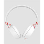 COLOUD BOOM White/Red Headphones with Mic & Remote/ Flat cable, Tangle-free System