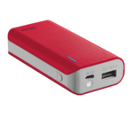 Trust Primo Portable charger with USB port and built-in 4400 mAh battery to charge your phone and tablet anywhere - red