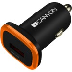CANYON Universal 1xUSB car adapter, Input 12V-24V, Output 5V-1A, black rubber coating with orange electroplated ring(without LED backlighting)