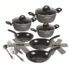 MODELIS: 15710<br />Stoneline Ceramic Cookware Set of 14 15710 3 pans; 3 pots; 3 lids, Black, Lid included