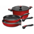 MODELIS: 17511<br />Stoneline Imagination cookware set 4 pcs. 17511 1 cooking pot Ø 20 cm; 1 frying pan Ø 24 cm; 1 frying pan Ø 20 cm; 1 glass lid with silicone rim and sieve function Ø 20 cm, Die-cast aluminium, Red, Lid included
