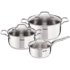MODELIS: A702S685<br />TEFAL Set of pots, 6pcs: 3 post + 3 pot lids A702S685 3, 16/ 20/ 24 cm, Stainless steel, Stainless steel, Dishwasher proof, Lid included