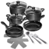 MODELIS: 15710<br />Stoneline Ceramic Cookware Set 15710 3 pans, Black, Lid included
