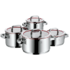 MODELIS: 0760056380<br />WMF Cookware set  Function 4 pot set, 5-piece,  1 low casserol (20 cm), 3 high casserols (16/20/ 24 cm) Cromargan® 18/10 stainless steel, Stainless steel, Dishwasher proof, Lid included