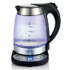 MODELIS: CR 1242<br />Kettle Camry CR 1242 With electronic control, Glass, Stainless steel/Black, 2600 W, 1.7 L, 360° rotational base